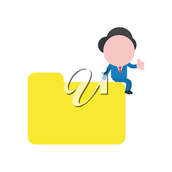 Vector illustration businessman character sitting on closed file folder and showing thumbs up.