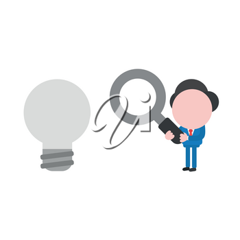 Vector illustration businessman character holding magnifying glass and looking glowing light bulb.