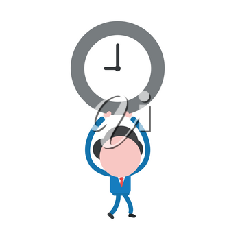 Vector illustration businessman character walking and holding up clock time icon.