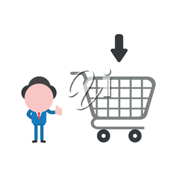 Vector illustration businessman character showing thumbs up with shopping cart.