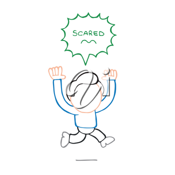 Vector hand-drawn cartoon illustration of running man with scared thought bubble