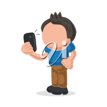 Vector hand-drawn cartoon illustration of man standing holding smartphone and taking selfie.