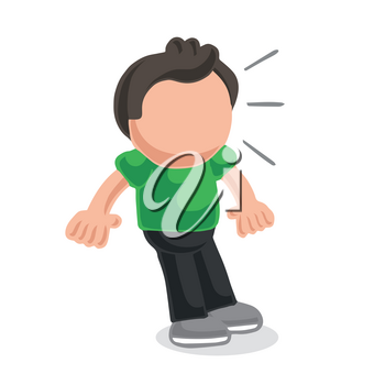 Vector hand-drawn cartoon illustration of man shocked and surprised.