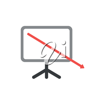 Flat design vector illustration concept of red arrow moving down and out of presentation chart symbol icon.