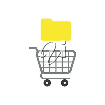 Flat design vector illustration concept of yellow closed folder over grey shopping cart symbol icon.