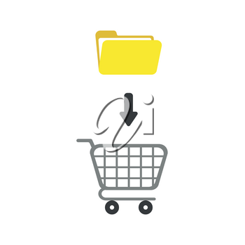 Flat design vector illustration concept of yellow open folder into grey shopping cart symbol icon.