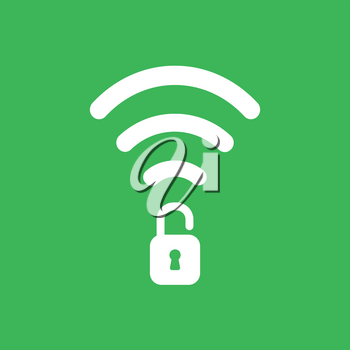 Flat vector icon concept of wireless wifi symbol with opened padlock on green background.
