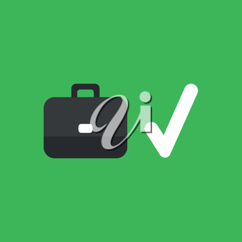 Flat vector icon concept of briefcase with check mark on green background.
