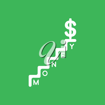 Flat vector icon concept of dollar symbol on top of money stairs on green background.