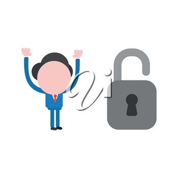 Vector illustration businessman character with open padlock.
