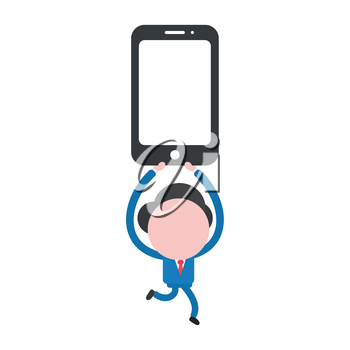 Vector illustration businessman character running and carrying smartphone.