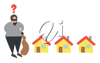 Vector illustration cartoon thief man with face masked with sack and thinking which house to choose for theft.