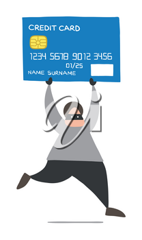 Vector illustration cartoon thief hacker man with face masked running and carrying credit card.