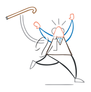 Vector illustration cartoon old man throwing his walking stick and running.