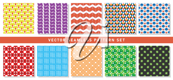 Vector seamless pattern texture background set with geometric shapes in yellow, red, purple, orange, blue, green, black, grey and white colors.