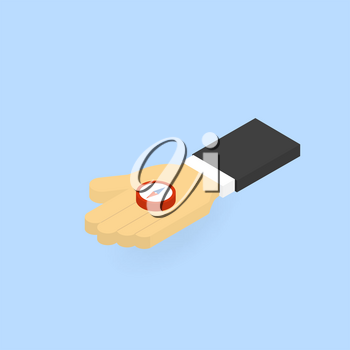 Man holding a compass. Vector isometric illustration.