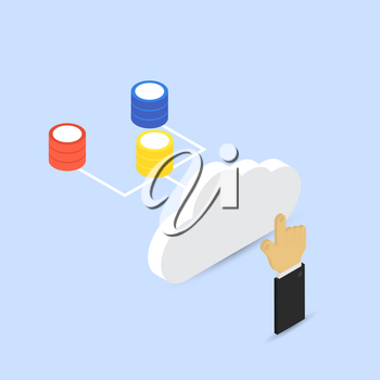 Hand touching the cloud storage. Big data. Abstract vector illustration.