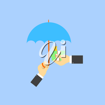 Businessman umbrella covers the money of another businessman. The concept of saving money. Vector illustration .