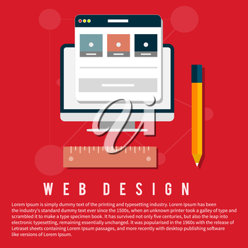 Computer monitor with the screen of the program for design and architecture in flat design. Web design concept