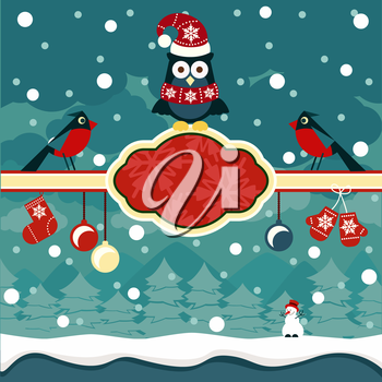 Christmas horizontal banners background with owl on place for text and snowman in winter forest cartoon design style
