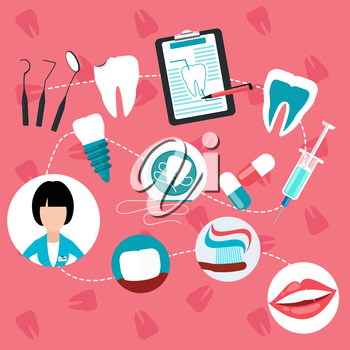 Stages and methods of dental treatment, hygiene and teeth helth infographic