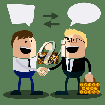 Happy business man make handshake sharing exchange case studies in which idea of ??invention and money cartoon flat design style
