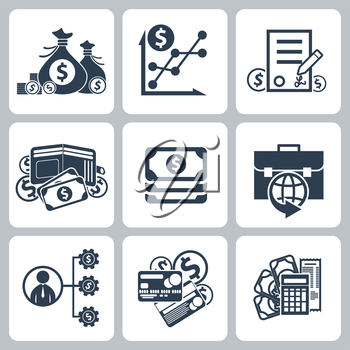 Money and bank icon set in black color isolated on white background