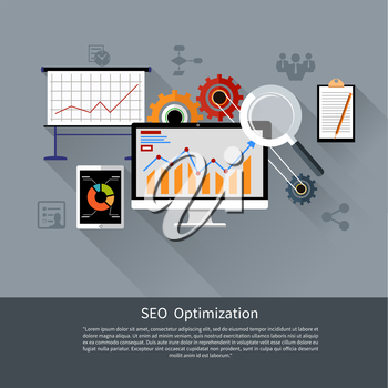 SEO optimization, programming process and web analytics elements in flat design