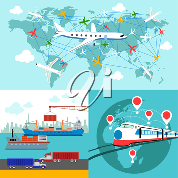 Shipping, delivery car, ship, plane transport on a background map of the world