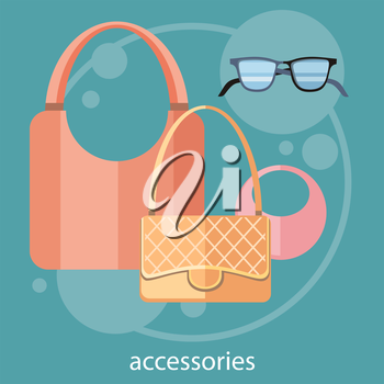 Womens fashion accessorie in flat design on stylish background