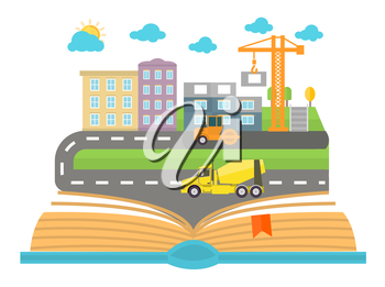 Open book with city on a white background. Concept in flat design. Car goes on the road in the city