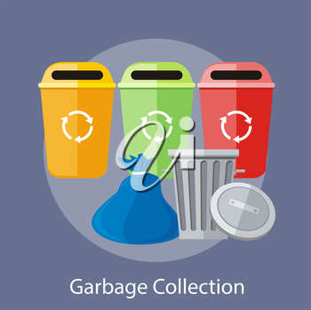 Garbage and recycling cans collection concept. Concept in flat design style. Can be used for web banners, marketing and promotional materials, presentation templates