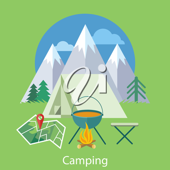 The Camping tent near the fire and mountains in the background with trees. Can be used for web banners, marketing and promotional materials, presentation templates