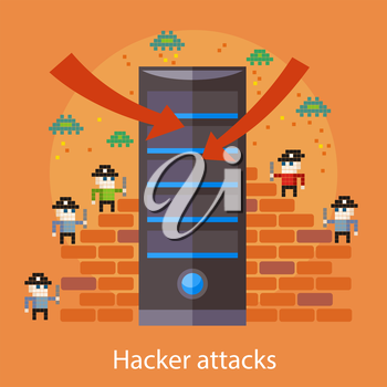 Hackers attaks activity. Computer hacking, internet security concept in flat design. Pirates attacking server in pixel style. For web banners, marketing promotional materials, presentation templates