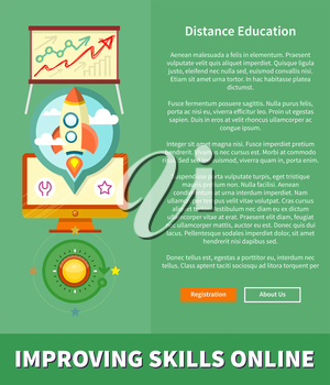 Improving skills online. Concept in flat design style. Can be used for web banners, marketing and promotional materials, presentation templates. Banners in flat design with place for text