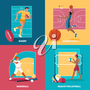 Team active aports with ball. Rugby and baseball, football and basketball,  sport and team game, activity play, competition and leisure, championship and player training illustration