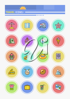 Thin lines icons sea cruise. Traveling, journey, water travel to resort summer vacation, tour planning. Cruise ship cruise vacation, ship travel, boat, vacation, beach, yacht, family cruise
