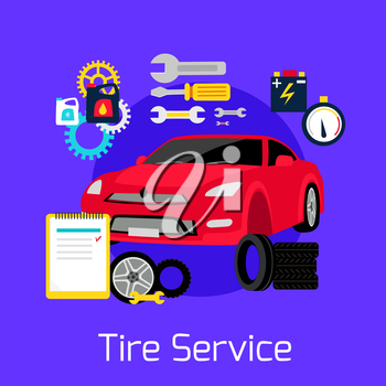 Tire service automobile flat concept. Auto car, change and balancing, repair vehicle, wheel and tool, engine  transportation, maintenance transport illustration