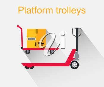 Platform trolleys icon design style. Warehouse and forklift truck, truck and jack, cargo cart, delivery and lift, equipment industry, industrial loader illustration