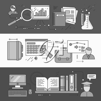 Process research planning and learning. Strategy concept, management plan educate, control, science experience, education and discover, brainstorming and implementation. Set of thin, lines flat icons