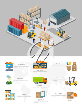 Icon 3d isometric process of the warehouse. Warehouse interior, logisti and factory, warehouse building, warehouse exterior, business delivery, storage cargo illustration. Warehouse infographic