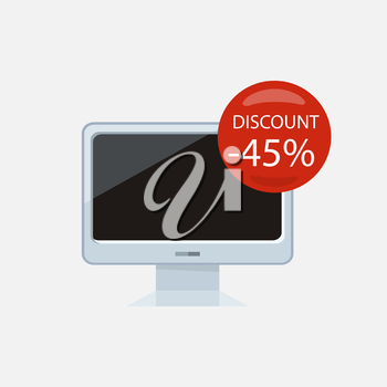 Sale of household appliances. Electronic device with red bubble discount percentage. Sale badge label. Home appliances in flat style. Computer, computer monitor, laptop, monitor icon, screen, tv