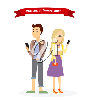 Phlegmatic temperament type people. Serious man and woman, medical and emotion, individuality and calm, individual mental, focused emotional illustration