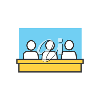 Students in classroom icon. Group, class, group training, exercise class. School lesson. Training classroom icon. Training, education, presentation room. Group of people at table. Vector isolated icon