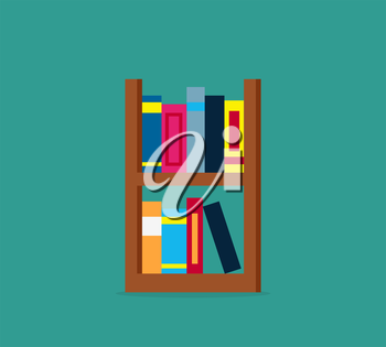 Large bookcase with different books. Bookcase full of books cartoon. books on bookshelves. Bookcase in library. Library scene bookcase in flat design style. Isolated bookcase Vector illustration