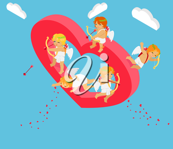Valentines day 3d isometric angels with bow. Valentines day, day valentine, love valentine heart, cupid valentine, celebration holiday valentine day, feeling valentine day amour. Valentine cupid