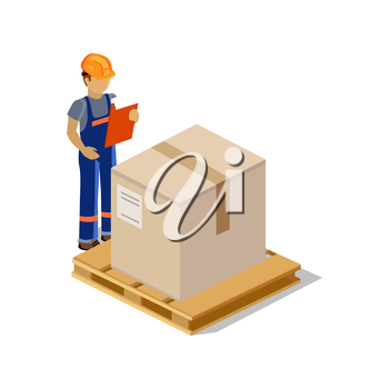 Isometric man delivery of goods isolated design. 3D Delivery man, delivery icon, free delivery, courier delivery, service delivery box, fast delivery, person parcel delivery, express delivery, postman