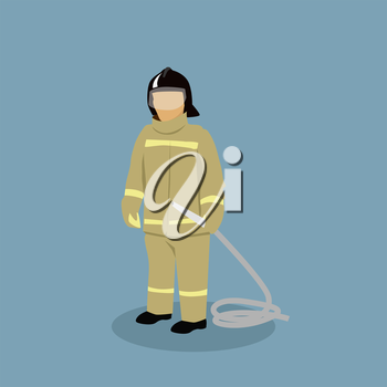 Profession icon firefighter design flat style. Fireman and firefighter isolated, firefighter helmet, job firefighter, occupation firefighter, profession firefighter, professional man illustration