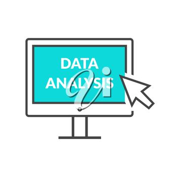 Marketing data analytics analyzing statistics chart. Data analysis seo concept. Monitor with text Data Analysis. Isolated icon Flat modern design style vector illustration concept.