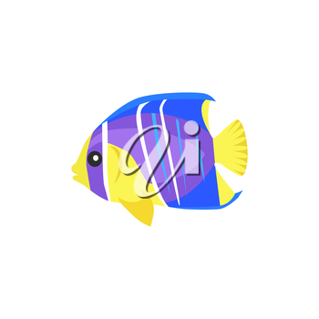 Heniochus intermedius fish flat design. Beautifully painted fish living in the ocean or sea from the tail and fin. Creating living under water with a striped pattern isolated. Vector illustration